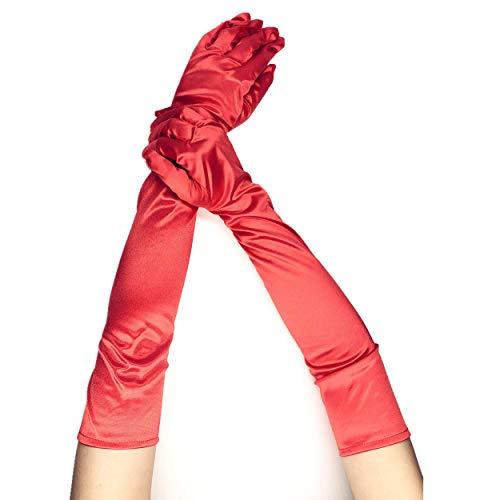 PANAX Schicke Extra Lange Damen Handschuhe aus elastischem Satin in Rot - XXL Stulpen in Einheitsgröße für Frauen, Hochzeit, Oper, Ball, Fasching, Karneval, Tanzen, Halloween...