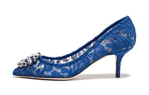 uBeauty Damen Stilettos Hell Spitzen Pumps Luxus High Heels Hochzeitsschuhe Spitze Zehen Slip On Sandalen Blau 39 EU