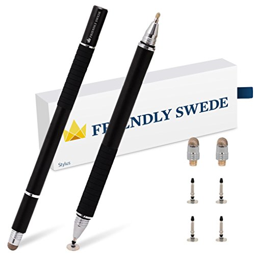 The Friendly Swede 2er-Set 3-in-1 kapazitiven Executive-Eingabestift mit Mikrofaserspitze, Präzisions-Disc und Kugelschreiber (schwarz) (Stift In Einem 3)