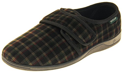Dunlop Zapatillas De Estar por Casa De Hombre Toque de Fijación Terciopelo Negro EU 43