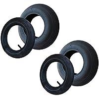 2 Set Reifen+Schlauch 400x100 4.80/4.00-8 Rillen Profil PR4-Lagen Tragfähigkeit 305 kg