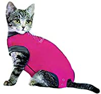 MAXX Cat Medical Pet Care Clothing & After Surgery Wear Recovery Shirt for Cats, E Collar Alternative Cone of Shame for Post Operative, Pet Healing, Anxiety, Infection, Wounds & Bandages- (4XS, Pink)