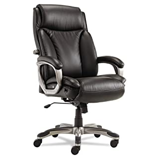 Alera Veon Series Executive High-Back Leather Chair with Coil Spring Cushioning, Black by Alera