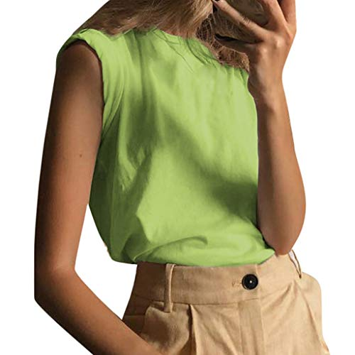 HULKY Sommer Elegant Ärmellose Feste Damen Weste Rundhals Einfach Basic Einfarbig Camis Tank Top(Grün,M) Split-unisex Latex