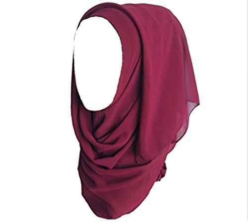 ILOVEDIY Muslim Hijab Viscose Schal islamischen Maxi Schal (Rot) (Schal Für Hijab)