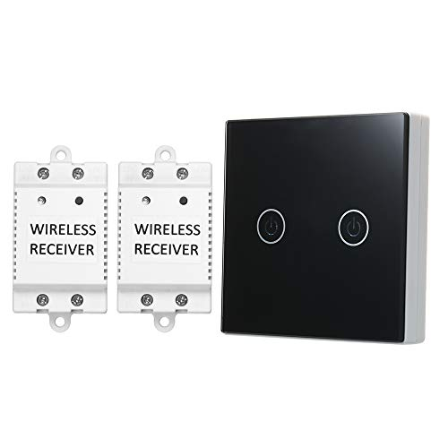 OWSOO Interruptor de Luz Táctil 2 Gang On/Off Interruptores Inalambricos 1 Interruptor...