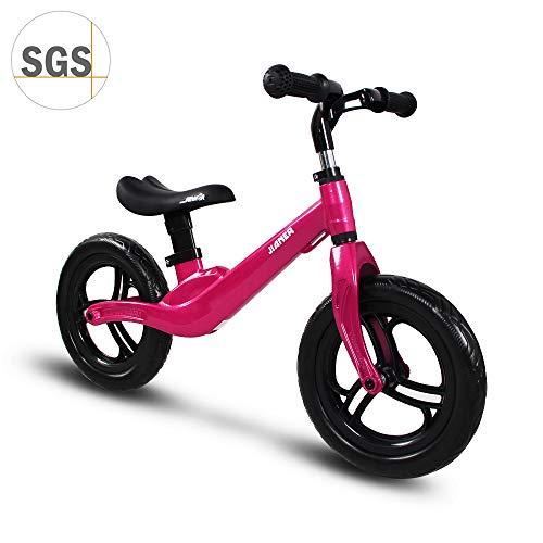 """COEWSKE 12""""Balance Bike Alliage de magnésium sans pédale Vélo d'entraînement d'équilibre pour Enfants et Tout-Petits de 2 à 4 Ans (Rose Rouge)"""