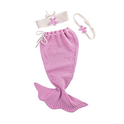 Dorapocket Neugeborene Baby Wrap Swaddle Decke Strick Baumwolle Meerjungfrau Schlafsack,Rosa
