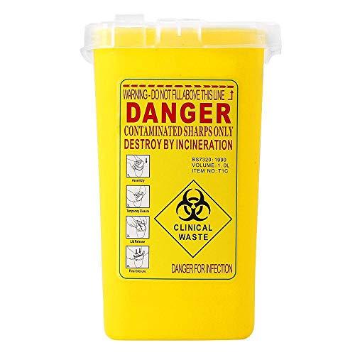 Hamkaw Sharps-Entsorgungsbehälter Non-Scratch Biohazard Nadelklingen Container Tattoo Nadel Fall Tattoo Supplies Entsorgung Kit Kleine Mülltonne Speicherorganisator