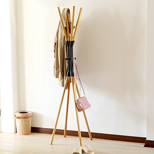 LYM Stehender Huthänger Mantel Hut Rack Holz Stand, Hall Baum mit 7 Haken Display Stand Einfache Montage von Regalen ( Farbe : Schwarz , größe : 45*45*170CM )