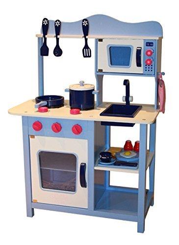 Cucina per bambini con accessori, in legno, colore blu - Giochi Legno