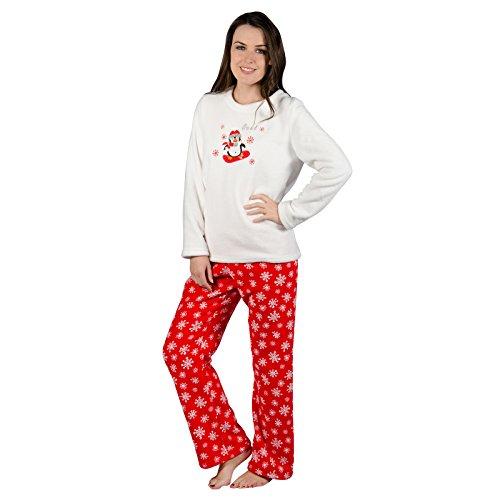 Autumn Faith Ladies Chilly Penguin Fleece Pyjama Set PJS White Top & Red Bottoms Nightwear