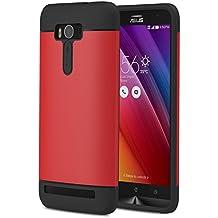 ASUS Zenfone 2 Laser Funda - MoKo [Scratch Resistant] Hybrid Armor Series Dual Layer Protection - Bumper Funda para ASUS Zenfone 2 Laser (ZE550KL / ZE551KL) 5.5 Inch Smartphone 2015 Release, Rojo