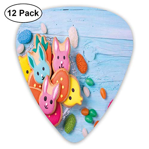 ks - 12 Pack,Abstract Art Colorful Designs,Photo Of Easter Rabbit Cookies Colorful Holiday Sweets Blue Wooden Background,For Bass Electric & Acoustic Guitars. ()