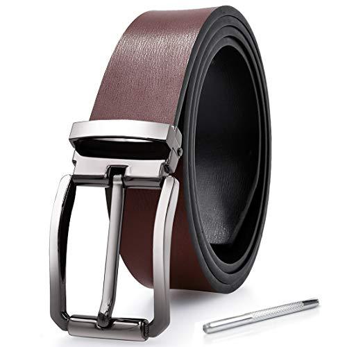 NEWHEY Cinturon Hombre Cuero Piel Hebillas Jeans Reversible Trabajo Traje Cinturones Clásico Negro Marron 115CM