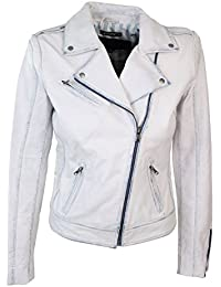 Womens Ladies Girls Soft White Real Leather Short Biker Style Jacket