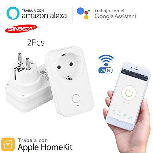 WiFi Socket Control de voz inteligente Control remoto WiFi Toma de corriente de EU, Adaptador para Apple Homekit Alexa Google Home Amazon Echo,No se Requiere Hub(2pcs)