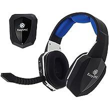 [Virtual 7.1 Sonido] Cascos Inalámbricos, EasySMX 2.4GHz Gaming Auriculares de diadema para Xbox 360/ PS4/ PS3/ Nueva Xbox One/ PC y Mac con Batería Recargable y Un Desmontable Mic(Negro+Azul)