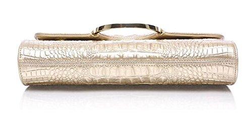 FZHLY Damen Leder Clutch High-End-Schulter Abendtasche ChampagneGold