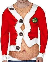 8e908fee8ac Siennaa T-Shirt Noël Homme Pull Noël Homme Moche Imprimé Imitation Drôle  Unisexe Garçons Sweat