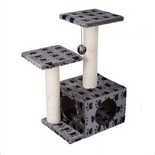 Spielstation und Kratzbaum, Grau, Pfotenabdruckmotiv, Kratzstangen, ideal zum Spielen und Verstecken Aus Hartfaserplatte mit natürlicher Sisal-Beschichtung