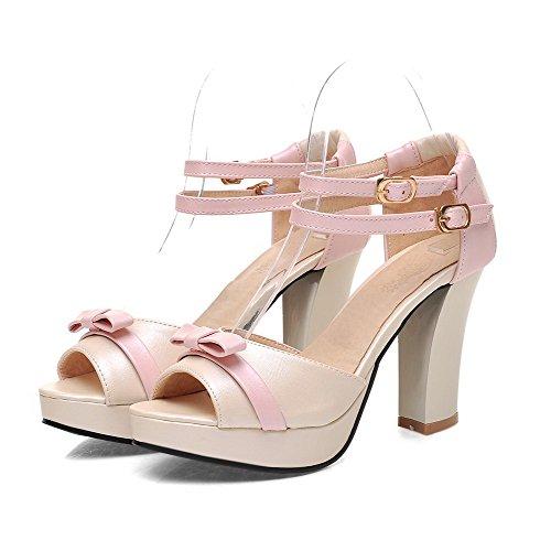 VogueZone009 Damen Pu Leder Gemischte Farbe Schnalle Hoher Absatz Sandalen  Mit Hohem Absatz Pink