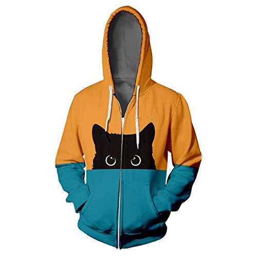 Damen Sweatjacke Hoodie Kätzchen Druck Freizeitjacke Strickjacke Langarm Patchwork Pullover Sweatshirt Blau Jacke Hip Hop Oberteile Outwear Frauen Sport Warm Reißverschluss Hoodies Kapuzenjacke -