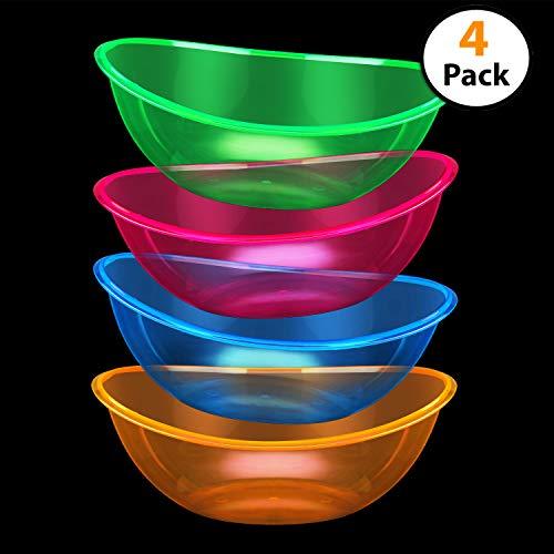 Set von 4-oval Konturierter Kunststoff Servieren Neon Schalen, Party Snack oder Salatschüssel, 80-ounce, verschiedene Farben,