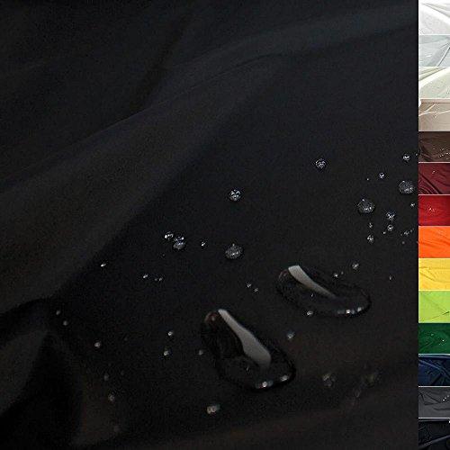 TOLKO Sonnenschutz Nylon Planen-Stoff Meterware - 180 cm Breit, Wasserdicht, Reißfest und Blickdicht als Universal Outdoorstoff zum Nähen (Schwarz)