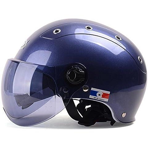 Auto Elettrica Casco Uomo e Donna Mezza copertura per moto casco doppia lente stagioni, Blue