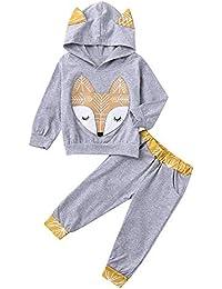 Neugeborenen Pullover Hoodie Baby Mädchen Jungen langärmelige Cartoon Fuchs Pullover + Sporthosen Freizeithosen 2 Sätze Anzug Sport Shirt Freizeitkleidung