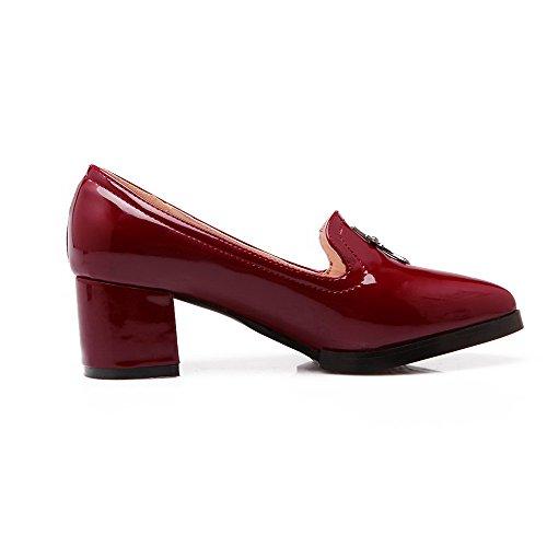 VogueZone009 Femme à Talon Correct Mosaïque Tire Verni Pointu Chaussures Légeres Rouge Vineux