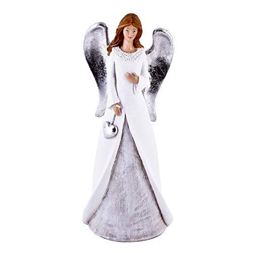 Dadeldo-Home Engel Joana Deko-Figur Resin Weiss-Silber Weihnachten (28x11x7cm) -