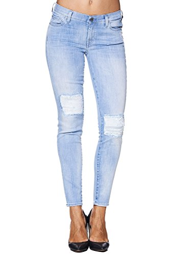 7 for all Mankind Jeans SKINNY CROP Bay Coral Distressed – Hellblau