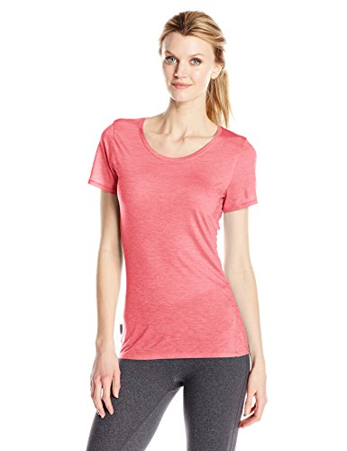 Icebreaker Damen Sphere SS Low Crewe T-Shirt, Tulip/Snow/Stripe, M -