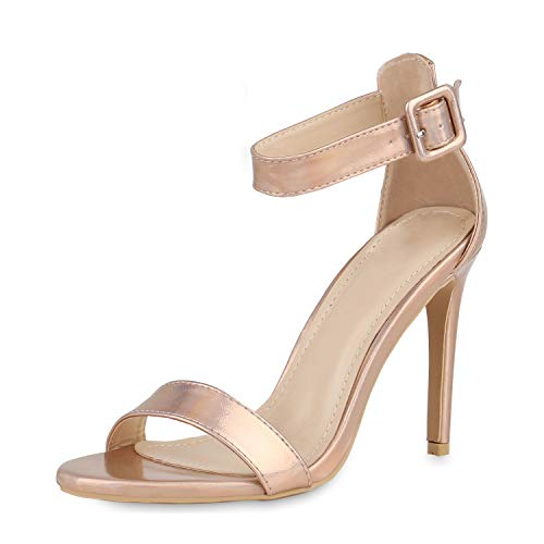 SCARPE VITA Damen Sandaletten Riemchensandaletten Stiletto High Heels Leder-Optik Absatzschuhe Party Schuhe Elegante Abendschuhe 156504 Rose Gold 41 Stiletto High Heel Strappy Sandal