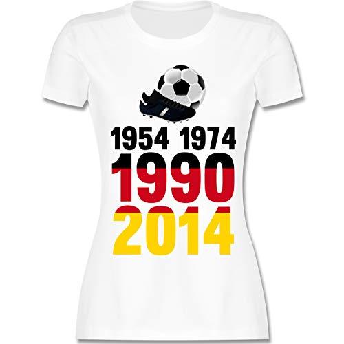 Fußball-Europameisterschaft 2020-1954, 1974, 1990, 2014 - WM 2018 Weltmeister Deutschland - M - Weiß - L191 - Damen Tshirt und Frauen T-Shirt
