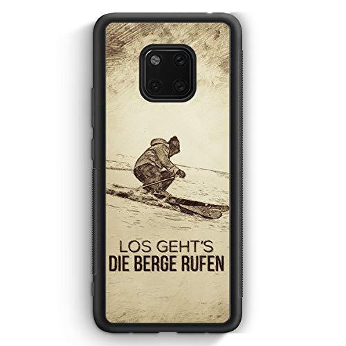 Vintage Los Geht's Die Berge Rufen Ski - Silikon Hülle für Huawei Mate 20 Pro Cover - Motiv Design Spruch Cool Sport Schön - Handyhülle Schutzhülle C