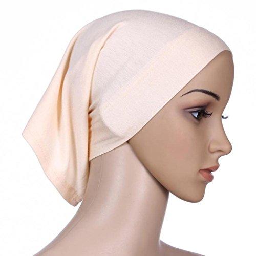 QHGstore Femmes Tissu élastique Sweat absorbant Coton Sous-vêtement Hijab Tube Cap Beige