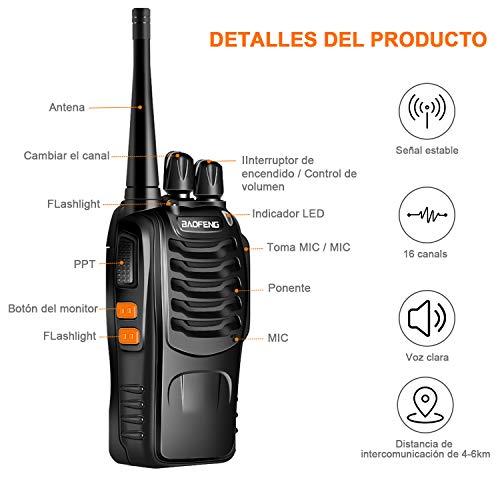 LESHP Walkie Talkie Juego de 2 (16 Canales,  VHF/UHF/FM 400- 470 MHz,  105 CDCSS,  Alcance de hasta 6 km,  Indicador de Batería Baja ) Transceptor Recargable