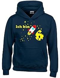 Ich bin 6 Jahre ! - Jahreszahl mit Rakete Sterne Kinder Geburtstag Sweatshirt mit Kapuze HOODIE für Jungen Birthday Gr. 116 cm, 128cm, 140cm Kindergeburtstag feiern, Einladung, Geschenk für Jungs