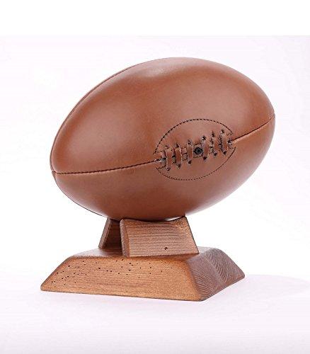 ALL SPORT VINTAGE Ballon de Rugby - Marron, Socle carré en Bois Massif foncé