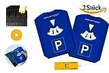Gibtplus 2 Pezzi Disco orario Orologio parcheggio con Profilo di profondità dei Pneumatici, Raschietto per Ghiaccio e gettone per Carrello della Spesa plastica Blu per Auto