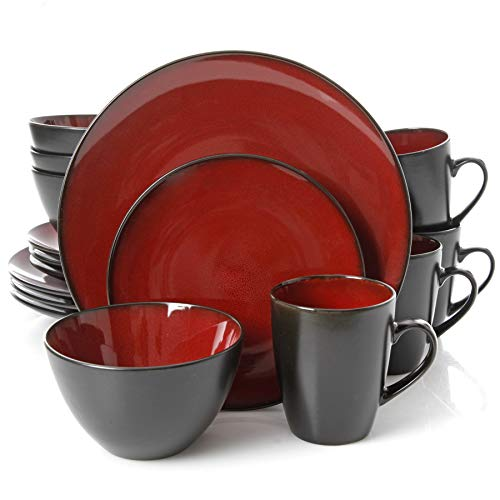 Gibson Home 109537.16R Soho Round 16 Piece Reactive Stoneware Dinnerware Set, Red Soho White Bowl