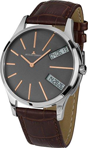 Jacques Lemans Herren Analog - Digital Quarz Uhr mit Leder Armband 1-1813D