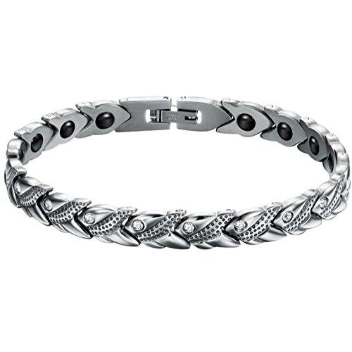 JewelryWe Schmuck Edelstahl Armband Magnetarmband Fisch Link Panzerarmband Gesundheit Magnet Partnerarmband Damen Armbänder Armreif Silber, 20cm Breite 7,8mm