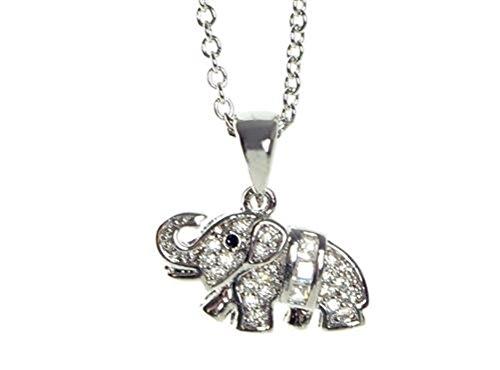 Schmucktrendzone Joyas Trend Zone Damen-cuello-cadena, Circonita Blanco, cristal, Elefant colgante, plata-cristales de...