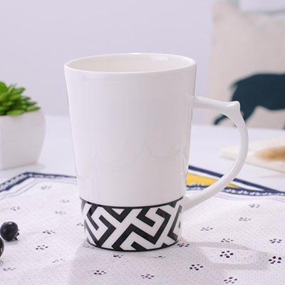 Mugcap 000 Keramik Schale große Tassen schwarzen geometrischen Bone China mit einer Kappe mit dem Löffel Einfaches kontinentales Tasse Kaffee Tassen, Schwarz Versace (Kinder Stroh Tassen Bpa Frei)