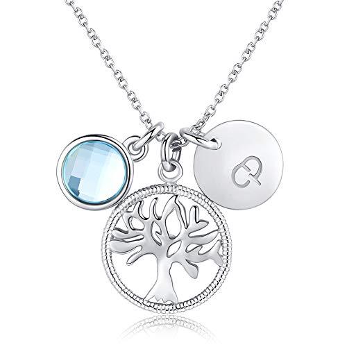 Thwjsh collana donna s925 collana con pendente albero della vita in argento sterling ciondolo con zirconi cubici accessori donna-silver