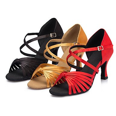 XIAMUO Damen Tanzschuhe Latein/Salsa/Samba/Ballsaal Satin angepasste Ferse Schwarz/Gelb/Rot Schwarz